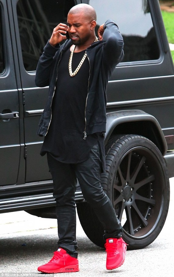 Kanye West in the Nike Air Max 90 Hyperfuse Red