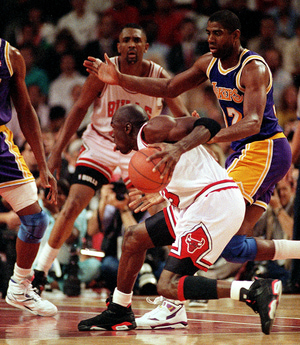 5 Jun 1991:  Michael Jordan #23 of the Chicago Bulls moves with the ball during game two of the NBA Finals. The Bulls defeated the Lakers 107-86.  Mandatory Credit: Allsport  /Allsport